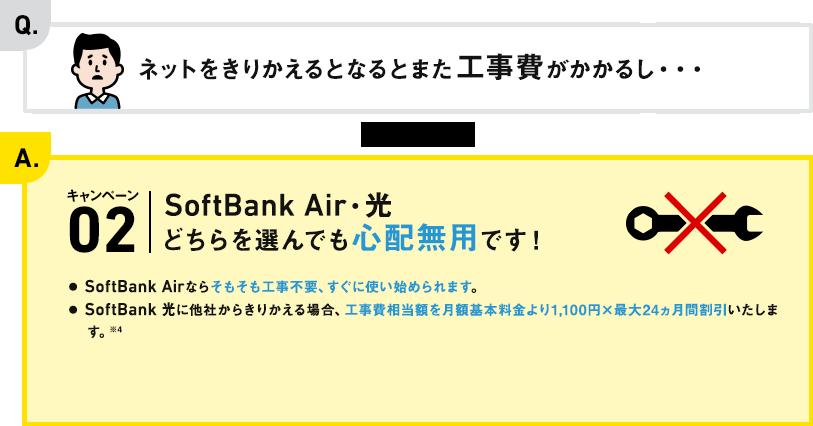 Q. ネットをきりかえるとなるとまた工事費がかかるし・・・ A. キャンペーン02 SoftBank Air・光どちらを選んでも心配無用です!● SoftBank Airならそもそも工事不要、すぐに使い始められます。● SoftBank 光に他社からきりかえる場合、工事費相当額として最大24,000円分(税抜)※3をキャッシュバックします。