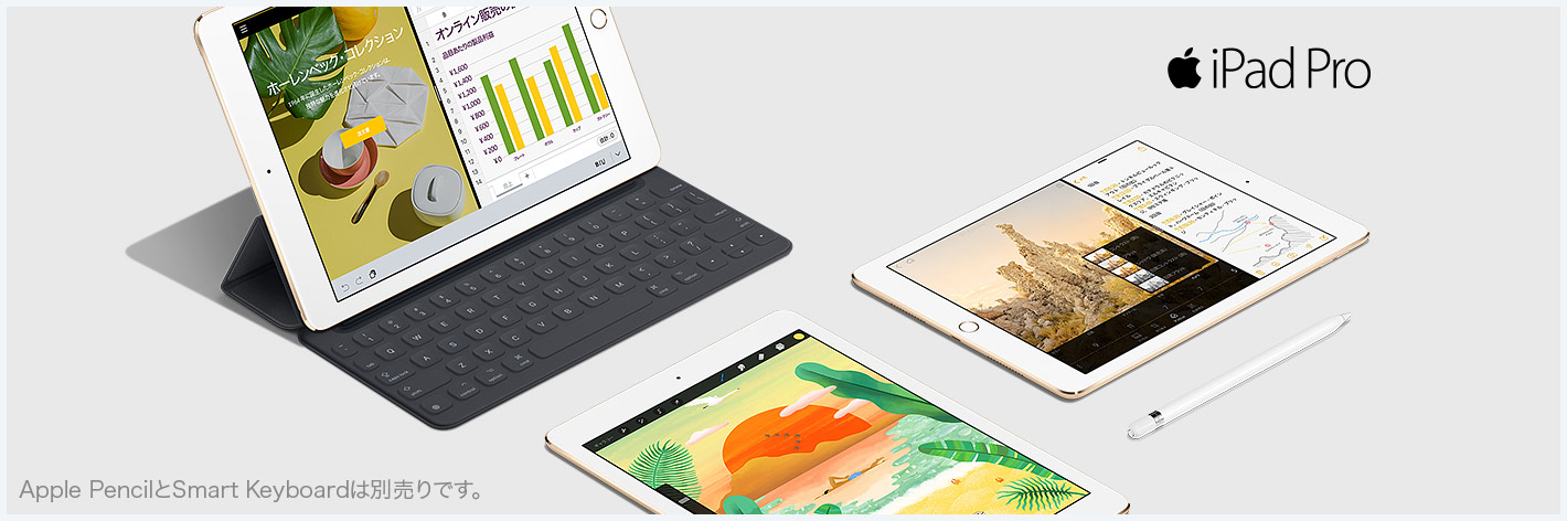 iPad Pro Apple PencilとSmart Keyboard は別売りです。