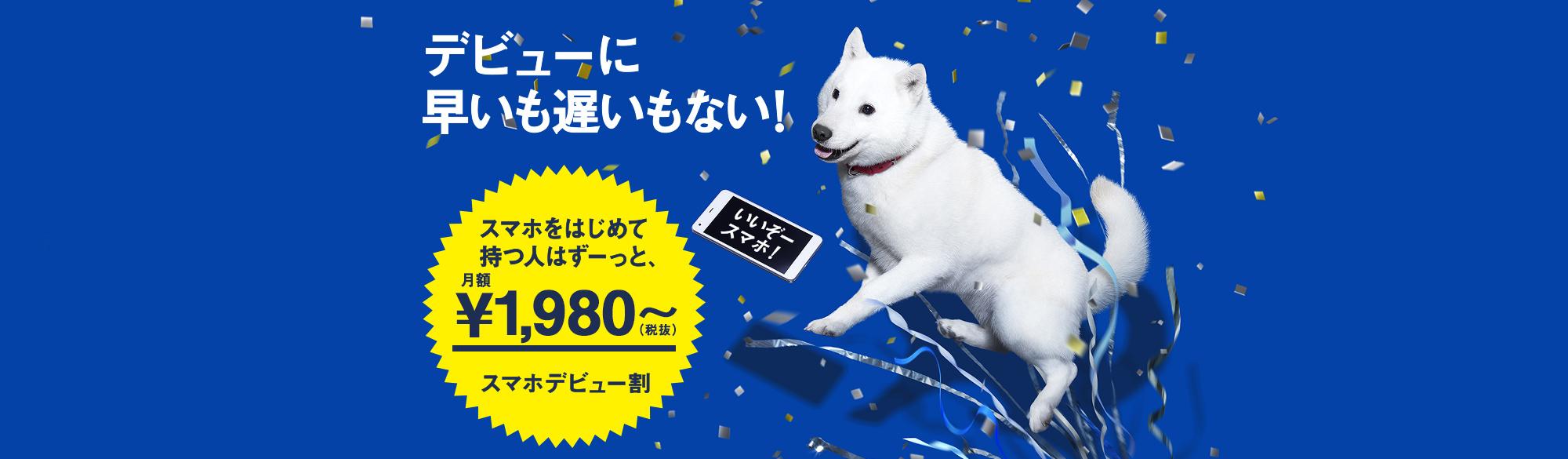 デビュー夫人。 スマホデビュー割 だれでもずーっと月額2,800円(税抜)~